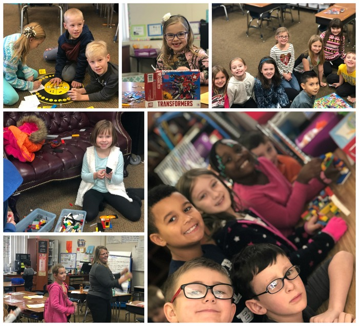 Collage Picture of Dwight students at indoor recess