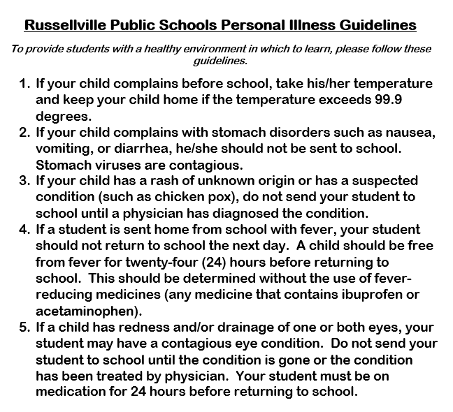 Russellville Public Schools. Personal Illness Guidelines