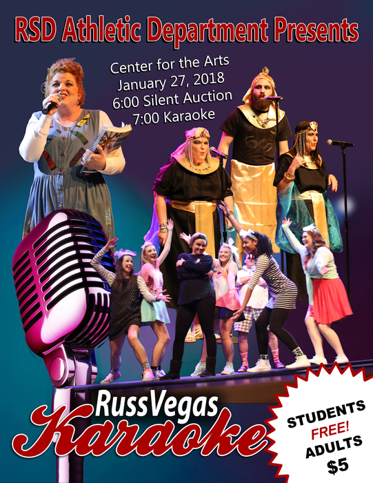 Russ Vegas Karaoke Flyer; dancing students, singing teachers