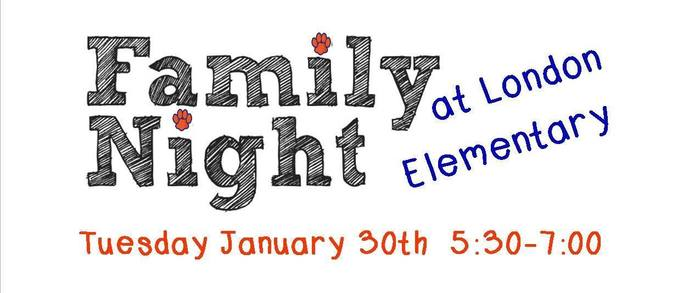 Family Night January 30th 5:30-7:00pm