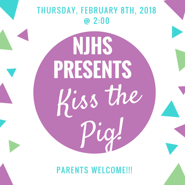 Kiss the Pig flyer; purple and green lettering