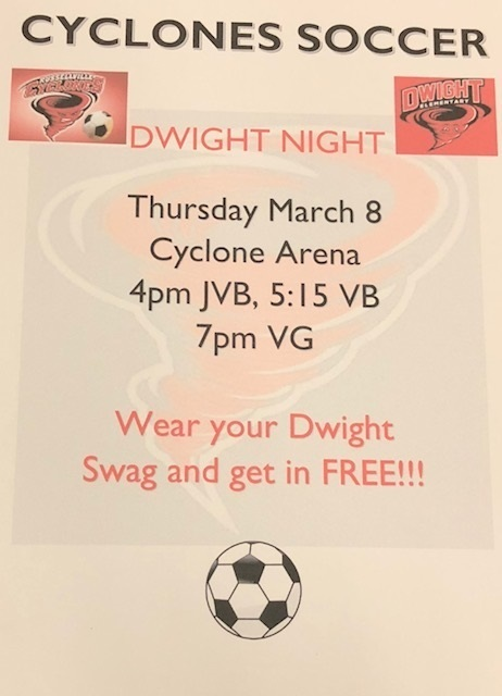 Cyclone Soccer: Dwight Night on Thursday, March 8 at 4:00 pm
