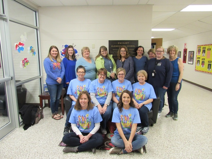 Picture of Dwight Staff wearing blue for Autism awareness