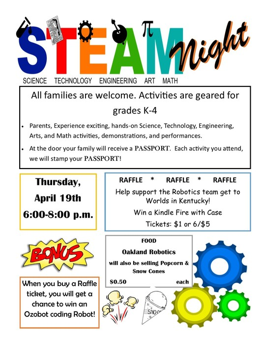 STEAM Night flyer April 19th