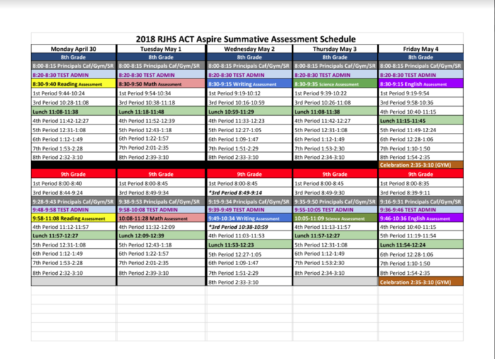 Screen Capture picture of the ACT Aspire testing schedule