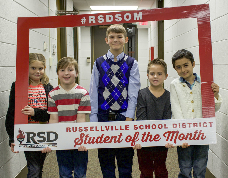 Five elementary students who were the December students of the month.