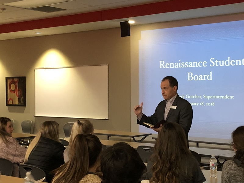 Dr. Mark Gotcher speaks to the RHS Renaissance Leadership Board
